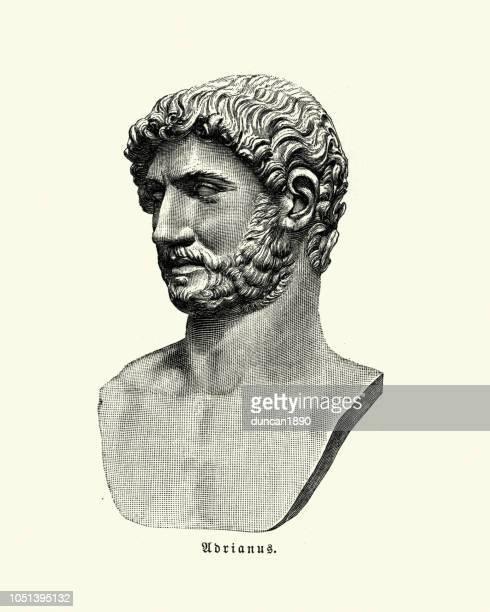 hadrian, roman emperor - castel sant'angelo stock illustrations