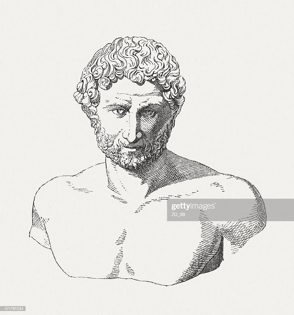 Hadrian (76-38 AD), Roman Emperor, wood engraving, published in 1881 : stock illustration