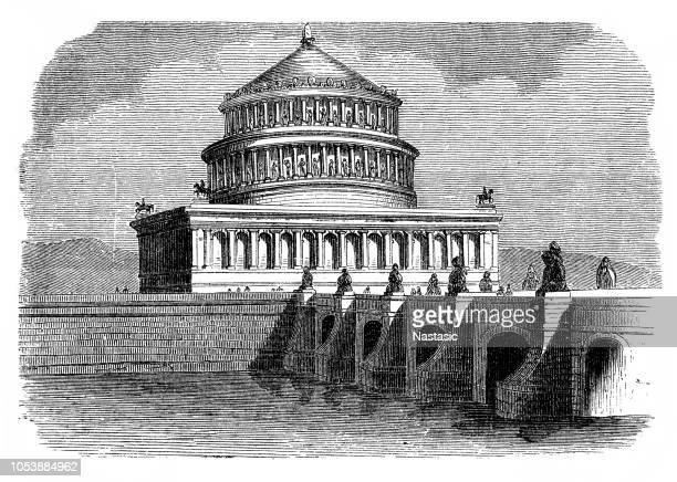 hadrian's mausoleum and aelian bridge in rome - castel sant'angelo stock illustrations