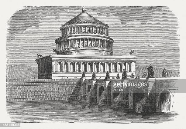 hadrian's mausoleum and aelian bridge in rome, published in 1878 - castel sant'angelo stock illustrations