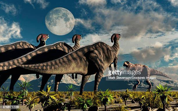 hadrosaurid duckbill dinosaurs use intense soundwaves to prevent a tyrannosaurus rex from attacking them. - hadrosaurid stock illustrations, clip art, cartoons, & icons