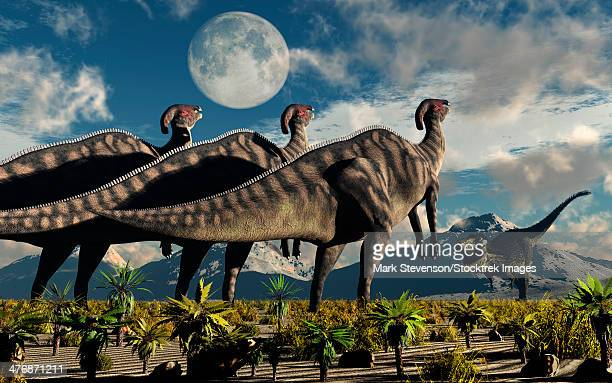 Hadrosaurid duckbill dinosaurs use intense soundwaves to prevent a Tyrannosaurus Rex from attacking them.