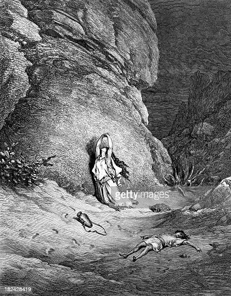 hagar and ishmael in the wilderness - high renaissance stock illustrations