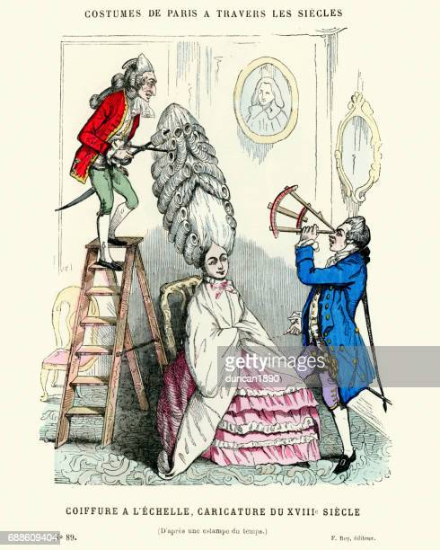 hairstyles- caricature of a 18th century hairdresser - 18th century stock illustrations