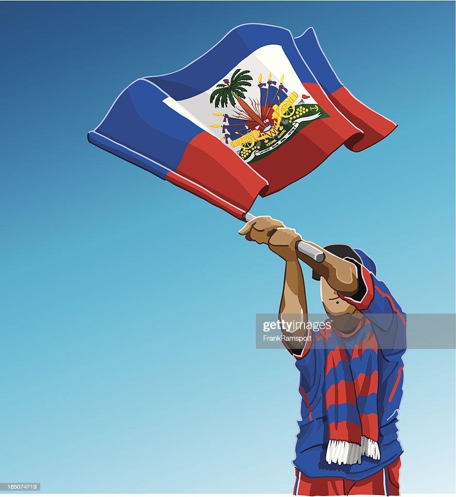 Haiti Waving Flag Soccer Fan