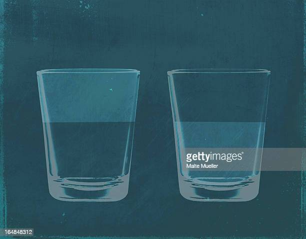 a half full glass of water next to a half empty glass of water - next stock illustrations