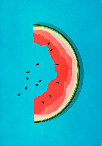 Half-eaten watermelon slice and seeds on blue background - gettyimageskorea