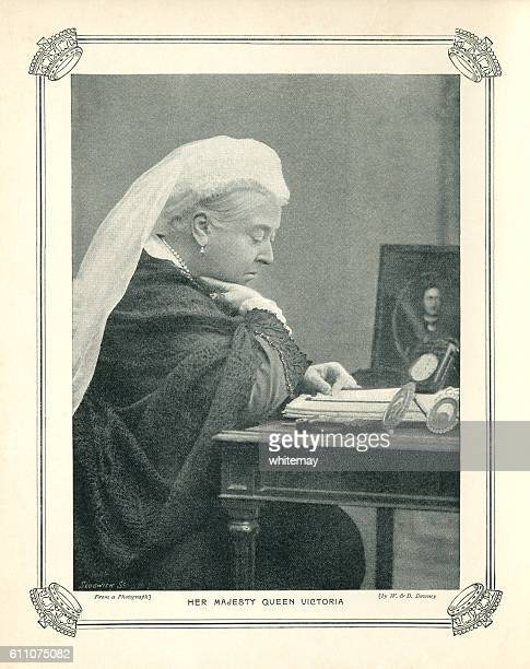 halftone portrait of queen victoria - mourning stock illustrations