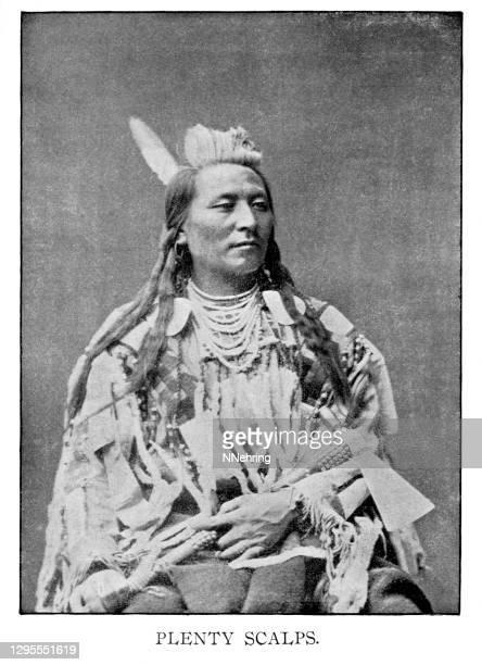 halftone print of plenty scalps, hunkpapa lakota chief - lakota culture stock illustrations