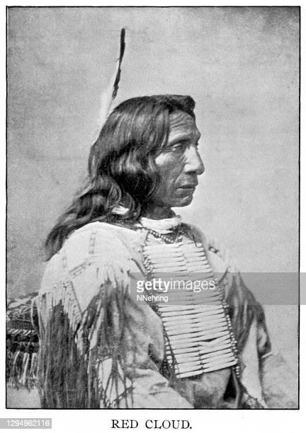 halftone print of red cloud, chief oglala lakota - lakota culture stock illustrations
