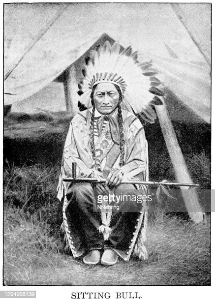 halftone print of sitting bull, hunkpapa lakota chief - lakota culture stock illustrations