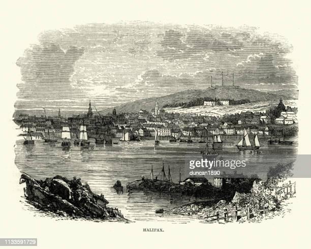 halifax, nova scotia, 19th century - 18th century stock illustrations