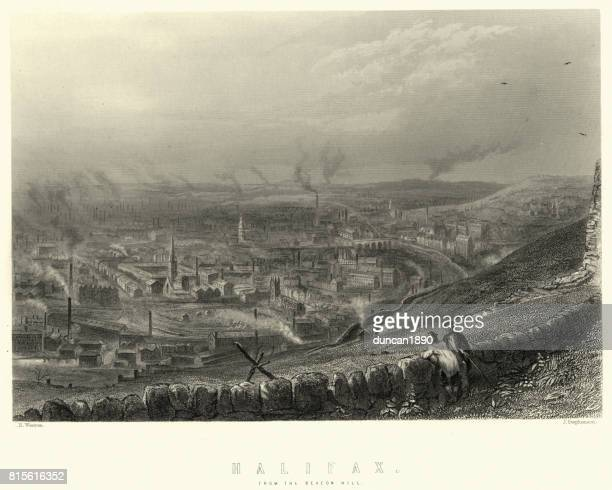 halifax, west yorkshire, in the 19th century - industrial revolution stock illustrations