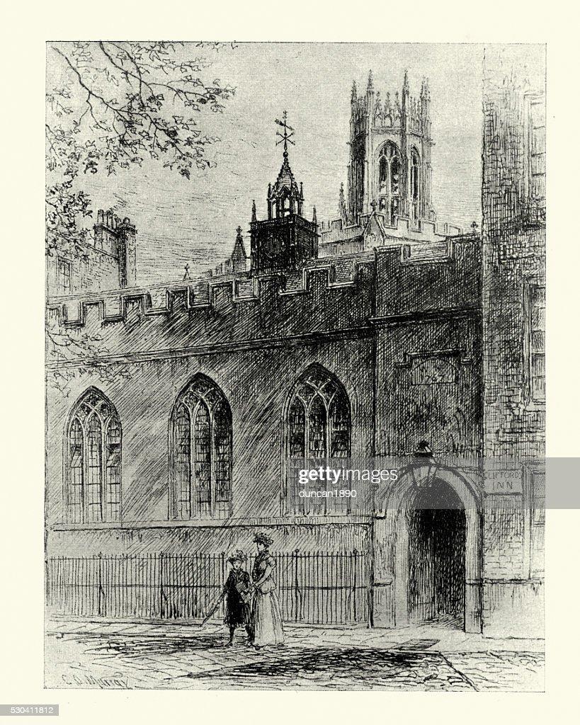 ホールで クリフォード イン、ロンドン、1899 年 : ストックイラストレーション