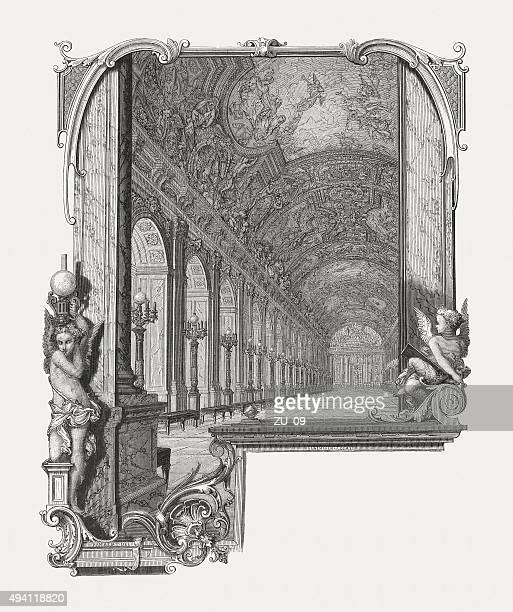 hall of mirrors in versailles, published in 1871 - versailles stock illustrations