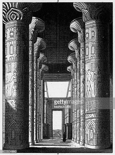 hall of the palace at carnak engraving - thebes egypt stock illustrations