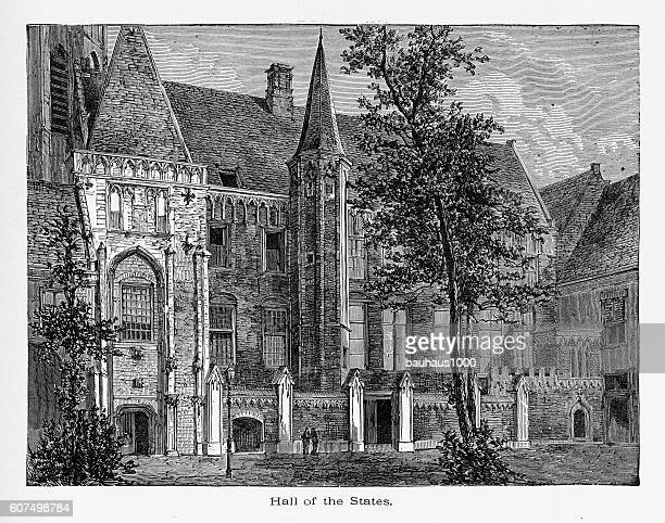 hall of the provincial states abbey, zeeland, netherlands 1887 - spire stock illustrations, clip art, cartoons, & icons