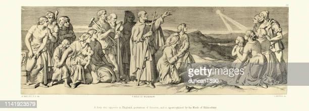 ilustrações de stock, clip art, desenhos animados e ícones de halley's comet portents disaster, norman conquest 1066 - cometa halley