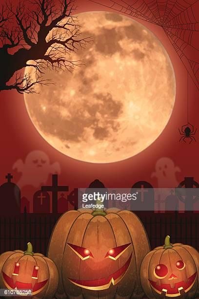 Halloween background [Jack o' Lantern and Full moon]