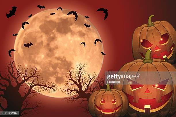 halloween background [jack o' lantern and full moon] - entusiástico stock illustrations