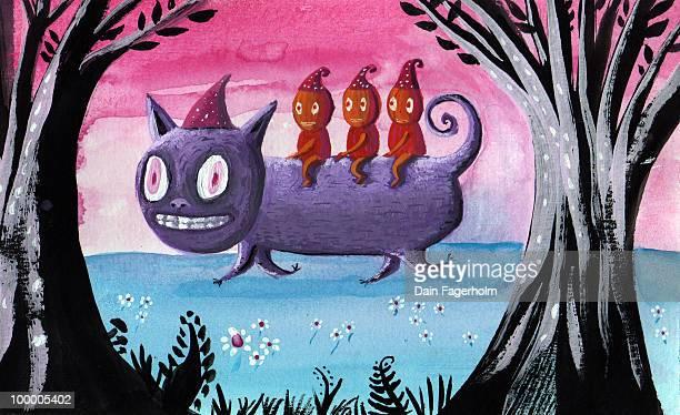 halloween cat ride - pumpkin cats stock illustrations