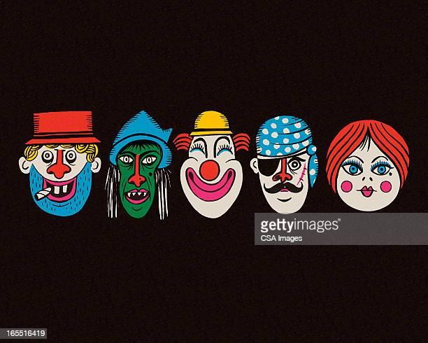 halloween costume faces - vagabond stock illustrations, clip art, cartoons, & icons