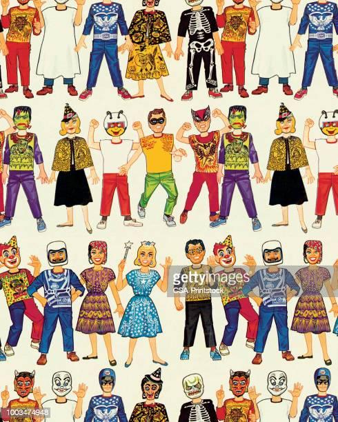 halloween costumes - costume stock illustrations