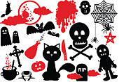Halloween Funny Scary Icons witch skull spider cat tomb phantom