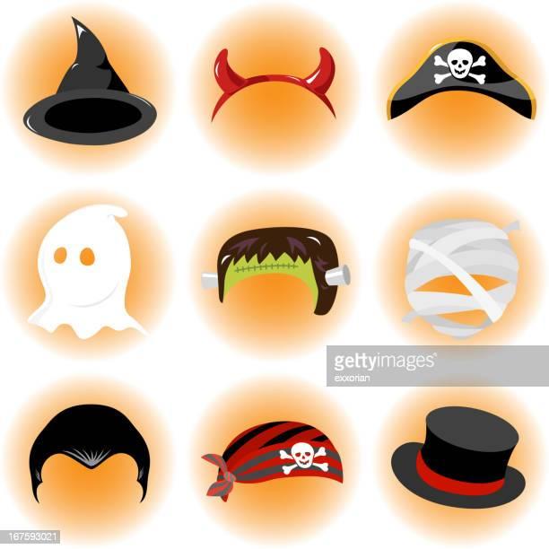 halloween hats - top knot stock illustrations, clip art, cartoons, & icons