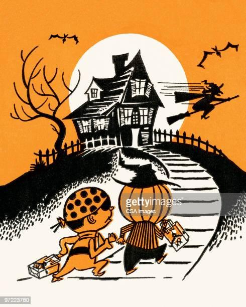 halloween haunted house - spooky stock illustrations