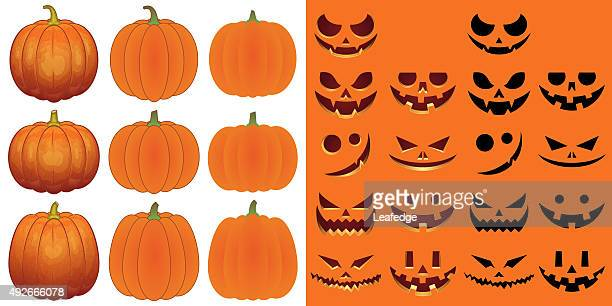 bildbanksillustrationer, clip art samt tecknat material och ikoner med halloween objects [pumpkins and faces set] - pumpa