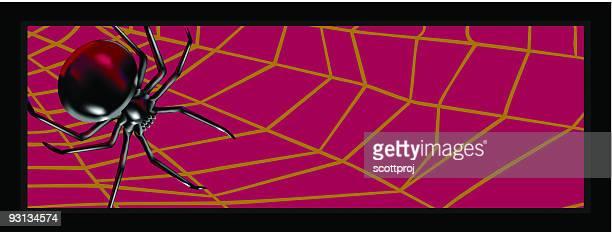 halloween spider border - black widow spider stock illustrations, clip art, cartoons, & icons