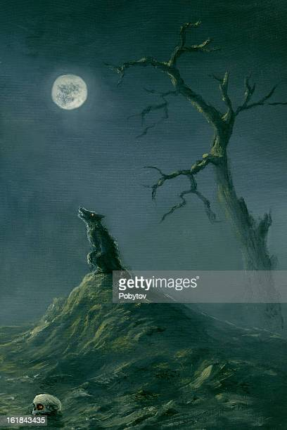a halloween themed picture of a wolf at night time - howling stock illustrations, clip art, cartoons, & icons