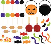 Halloween 'Trick or Treat' candy with pumpkin & cauldron buckets