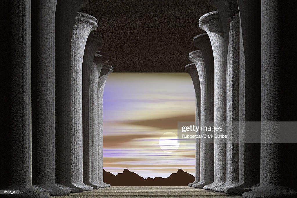 hallway of pillars open into a landscape : Stockillustraties