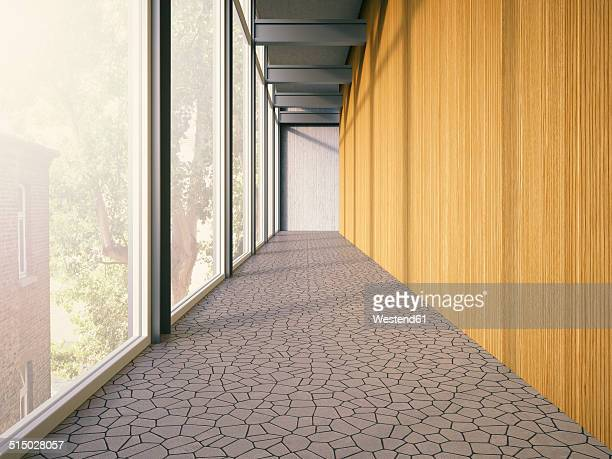 Hallway with window and wooden wall of a modern building, 3D Rendering