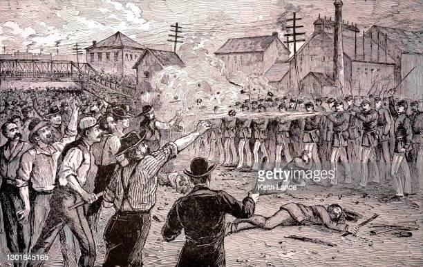 1877年、シカゴのハルステッド・ストリート暴動 - 1870~1879年点のイラスト素材/クリップアート素材/マンガ素材/アイコン素材