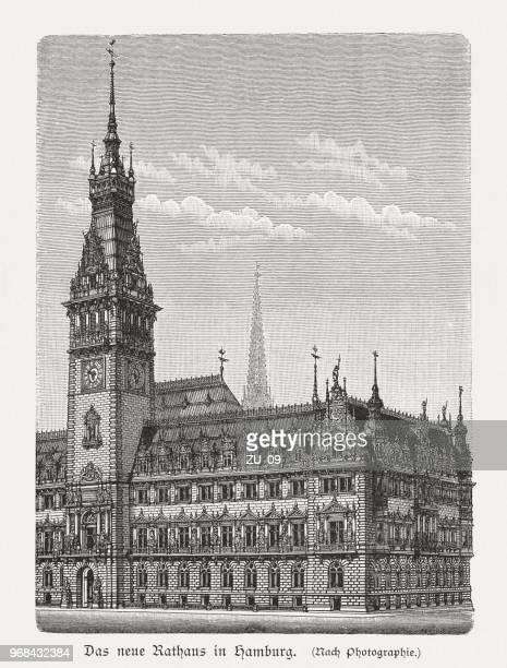 illustrations, cliparts, dessins animés et icônes de hôtel de ville de hambourg (allemagne), construite de 1886-1897, gravure sur bois, 1897 a publié - hambourg