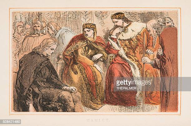 hamlet by shakespeare engraving 1870 - william shakespeare stock illustrations, clip art, cartoons, & icons