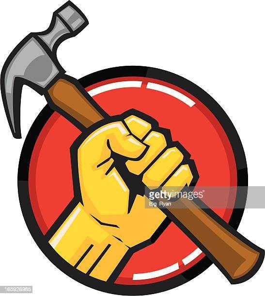 hammer fist - hammer stock illustrations