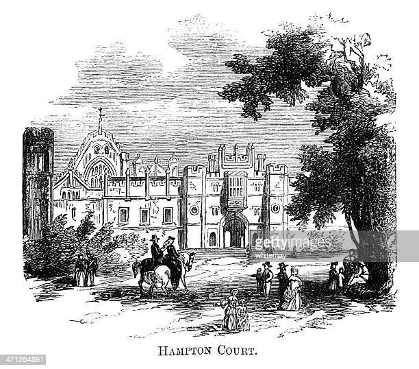 hampton court (1871 engraving) - hampton court stock illustrations