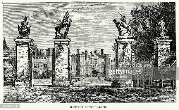hampton court palace - hampton court stock illustrations