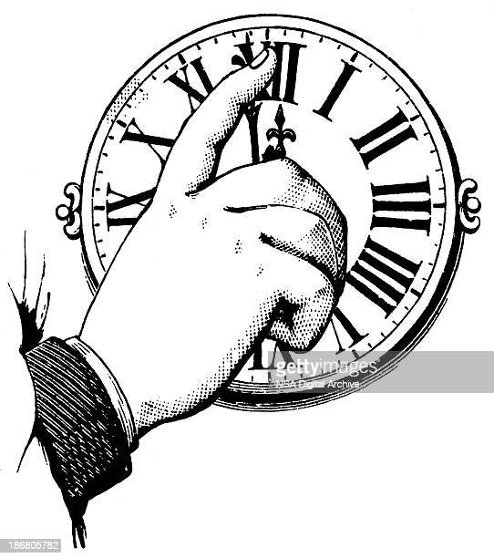 Hand adjusting the time on a clock