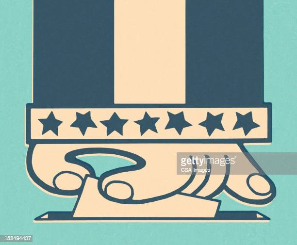 hand and ballot box - governmental occupation stock illustrations, clip art, cartoons, & icons