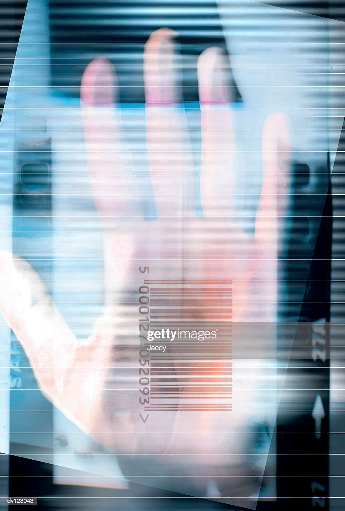 Hand and barcode : stock illustration