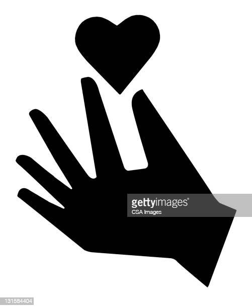 hand and heart - computer icon stock illustrations
