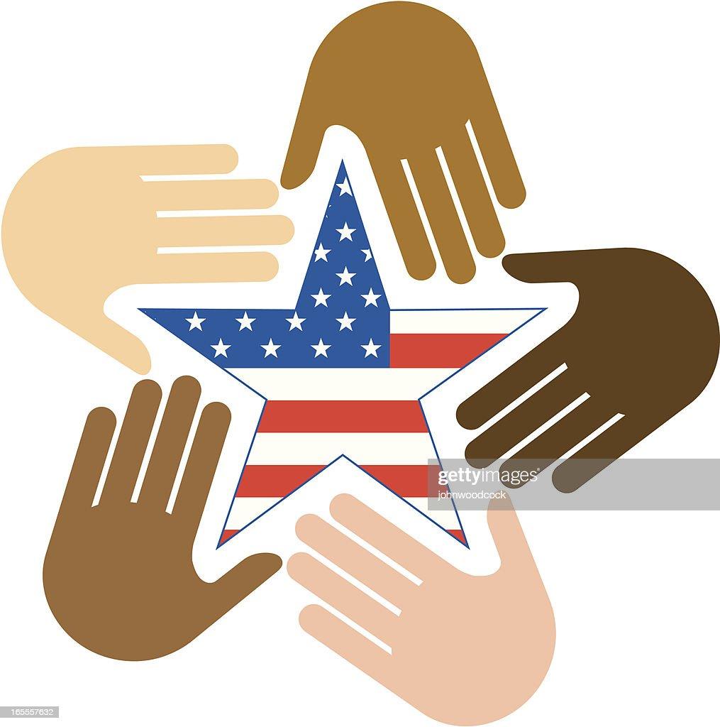 USA hand circle.