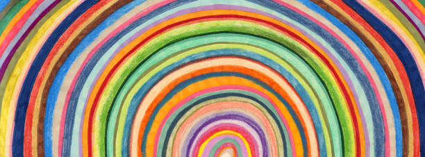 hand coloured circular stripes background patter - rainbow stock illustrations