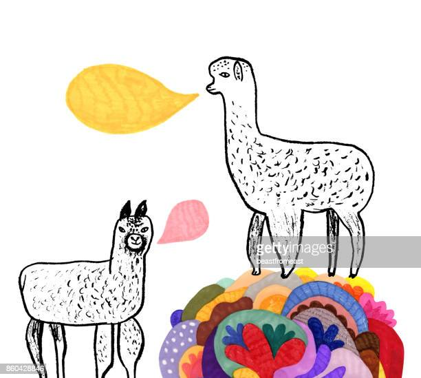 Hand drawn alpacas