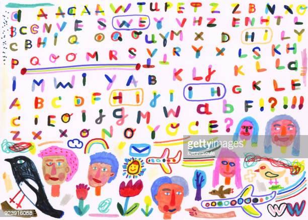 stockillustraties, clipart, cartoons en iconen met hand getekende alfabetletters en doodle - e mail